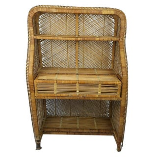 Vintage Boho Chic Rattan Wicker Desk Secretary Desk For Sale