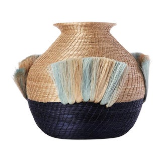 Fanned Out Small Bulbous Vase Flax/indigo For Sale
