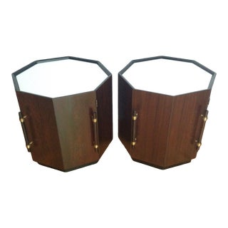 Mid-Century Modern Rosewood Octagonal Drum Occasional Table/Cabinet in the Manner of Harvey Probber - a Pair For Sale