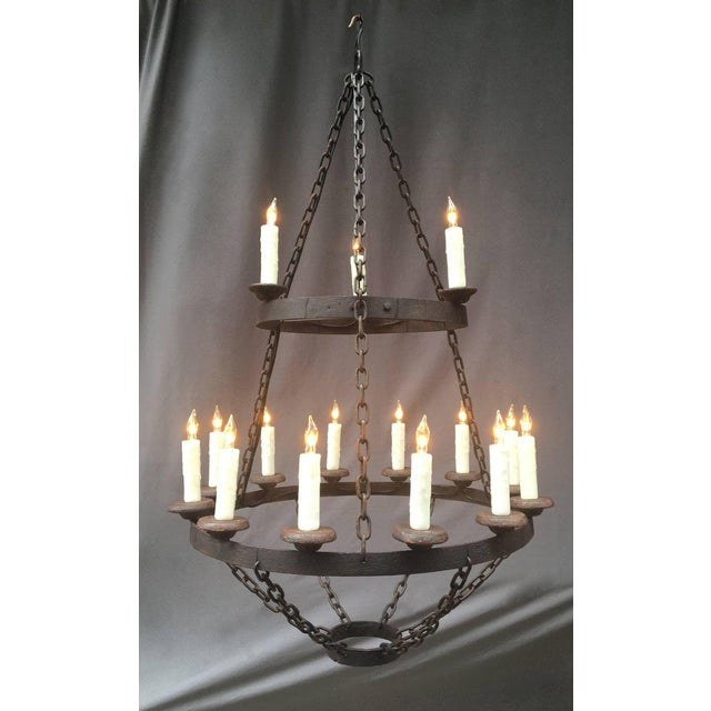 18th century French originally pricket iron chandelier.