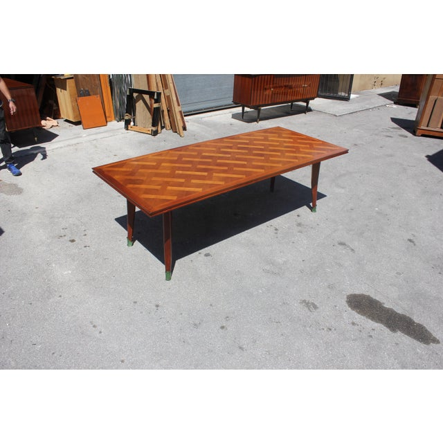 Yellow Master Piece French Art Deco Dining Table Cherry Wood By Leon Jallot 1930s For Sale - Image 8 of 13