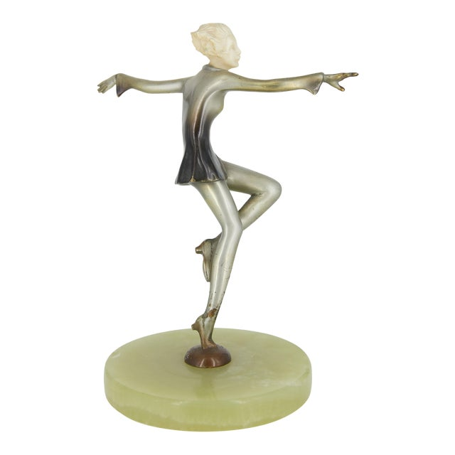 Art Deco Cold-Painted Silvered Dancer Sculpture For Sale