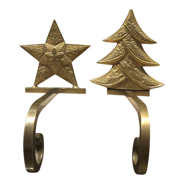 Vintage Antiqued Brass Stocking Hangers Tree & Star - a Pair For Sale