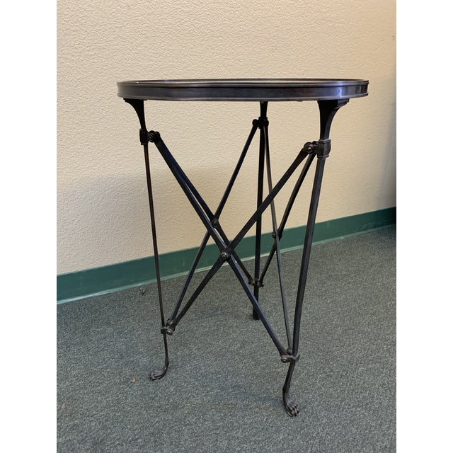 Design Plus Gallery presents the Directoire End Table by Global Views. Industrial style steel legs and stretchers finish...