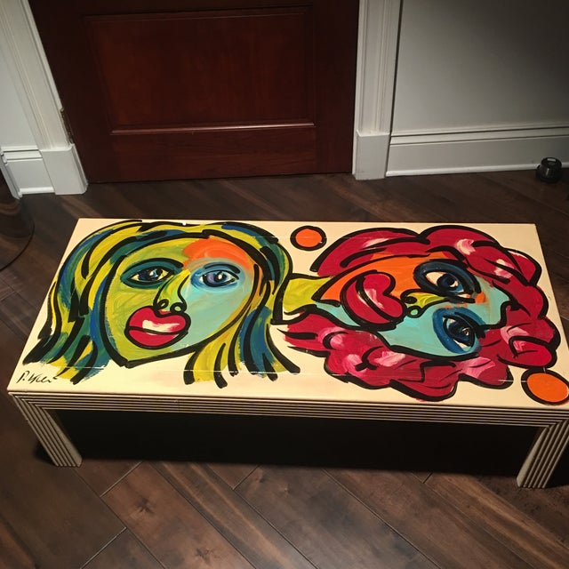 Abstract 1970s Peter Keil Hand Painted Abstract Coffee Table For Sale - Image 3 of 13