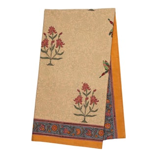 Dragonfly Floral Tablecloth, 6-seat table - Mustard Yellow For Sale