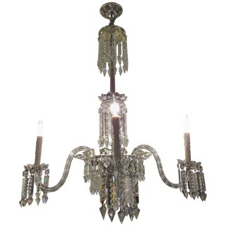 Large European Four-Light Crystal Chandelier, Early 20th Century For Sale