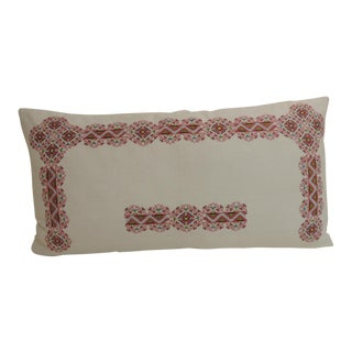 19th Century Greek Isle Red and White Decorative Bolster Pillow For Sale