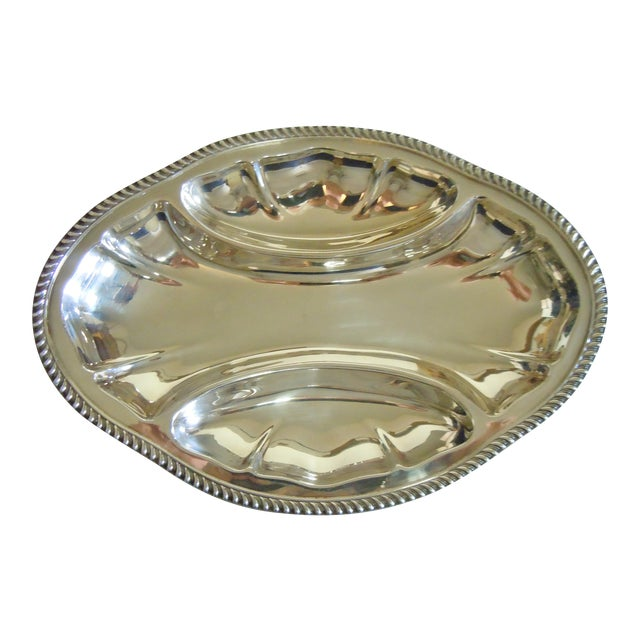 Vintage Poole Silverplate Relish Tray For Sale