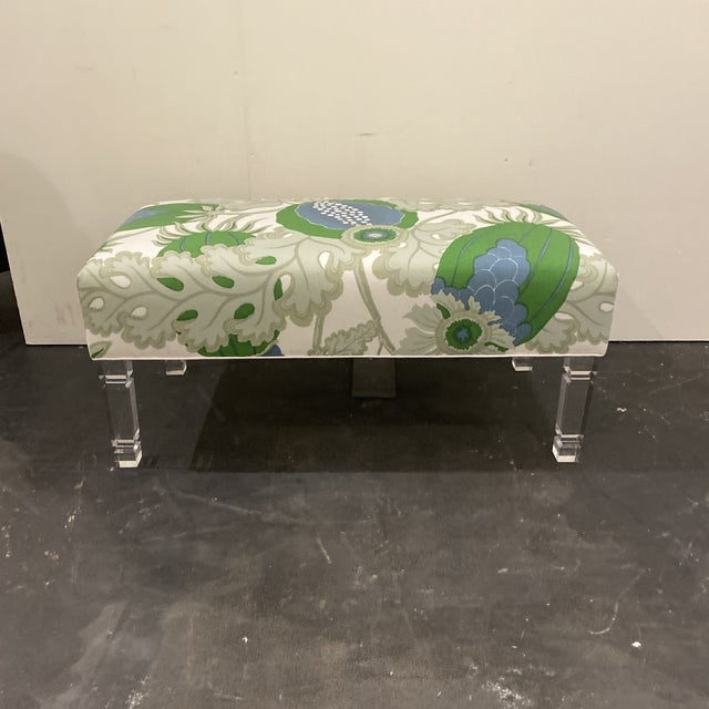 Modern Custom Bench With Lucite Legs For Sale - Image 3 of 11