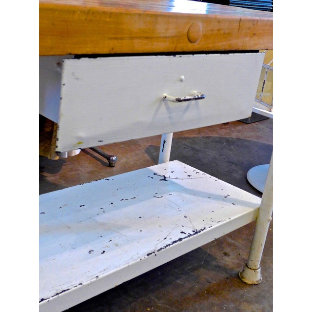 White Iron Kitchen Island With Butcher Block - Image 7 of 10