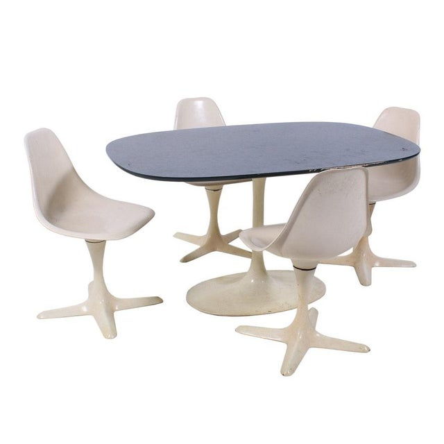 1960s 1960's Mid-Century Modern Burke Inc. Star Trek Style Dining Set - 5 Pieces For Sale - Image 5 of 6