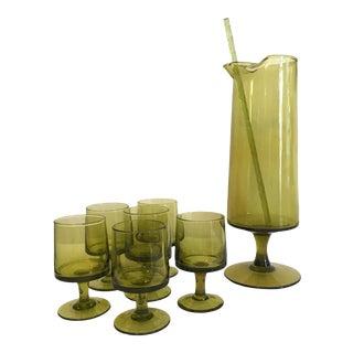 1970's Italian Hand Blown Glass Cocktail Set