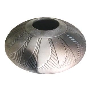 "Nancee Meeker Rare 1970's Studio Art Pottery Pit Fired "" Geometric Series "" Organic Modernist Ceramic Pillow Vase For Sale"