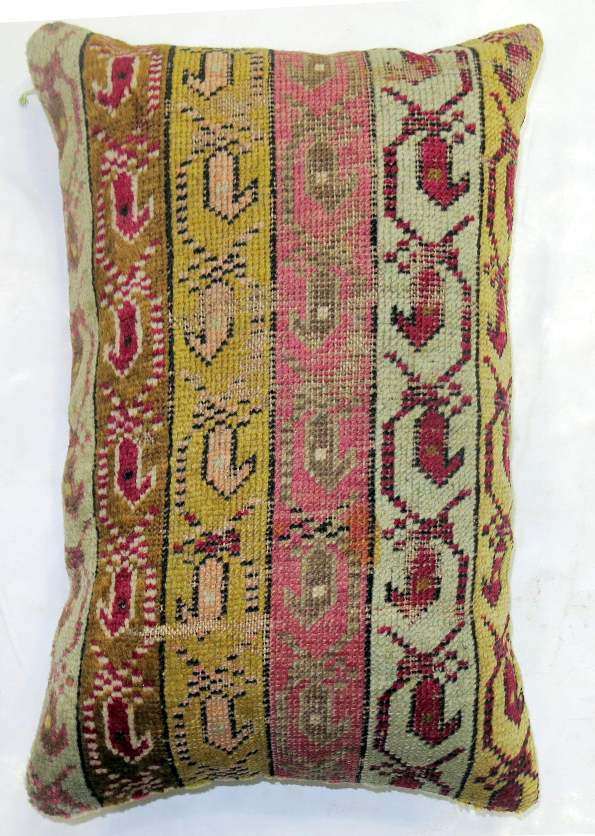 Traditional Rug Pillow No 2756 Rug Pillow Covers Ottoman Design Rug Pillow 12x20 Lumbar Pillow Colorful Rug Pillow Turkish Rug Pillow