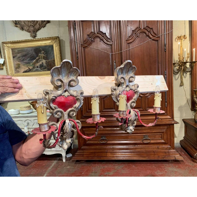 Pair of Italian Carved Wood and Metal Gilt and Silvered Two-Light Wall Sconces For Sale In Dallas - Image 6 of 8