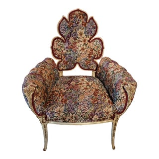 Mid 20th Century Italian Provincial Leaf Back Tapestry Chair For Sale