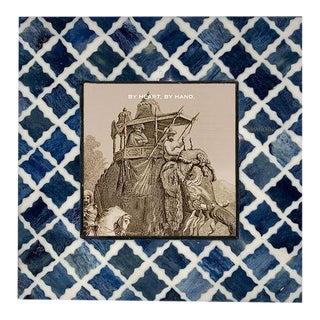 Fantasy Frame 4x4 in Indigo & White For Sale