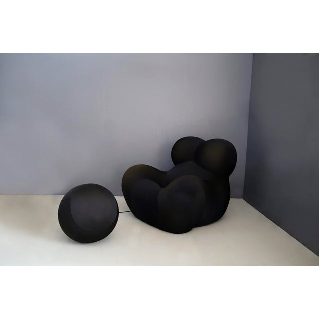 Gaetano Pesce for B&b Italia Up5 Black Lounge Chair and Ottoman, Restored 1970s For Sale - Image 9 of 9