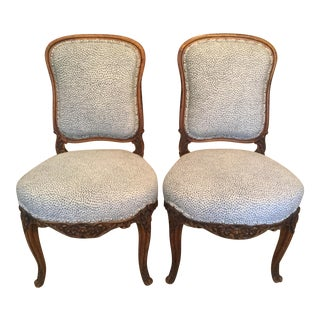 French Side Chairs W/ Animal Print - a Pair For Sale