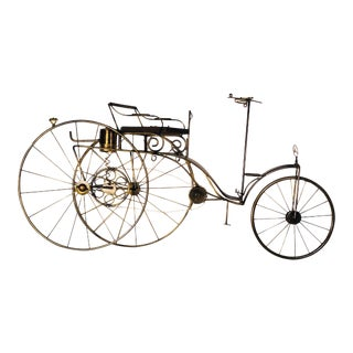 Large Scale Curtis Jere Mercedes Benz Antique Bicycle Wall Sculpture For Sale