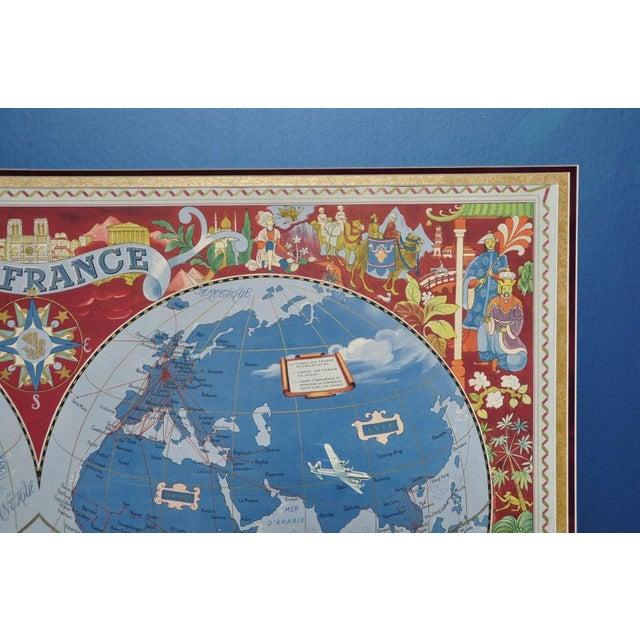 "1950s Large Framed 1952 Lucien Boucher ""Air France"" World Map Framed Poster Planisphere For Sale - Image 5 of 12"
