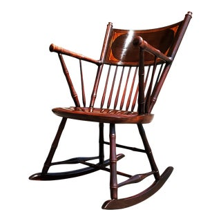 An Antique Federal Style Faux Bamboo Rocking Chair For Sale