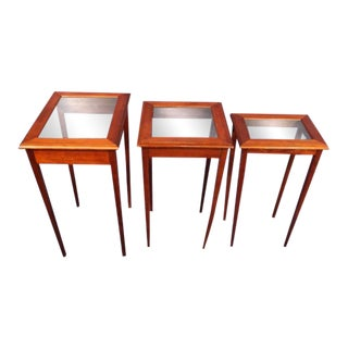 Mid-Century Modern Glass Top Nesting Tables - Set of 3