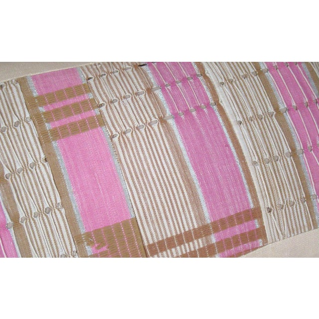 African Boho Chic Handwoven Aso Oke Khaki and Pink Cotton Pillow Cover For Sale In Milwaukee - Image 6 of 11