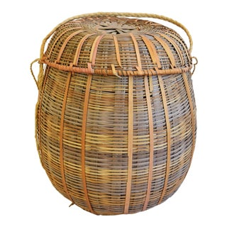 1950s Vintage Woven Basket With Lid & Rope Handle For Sale