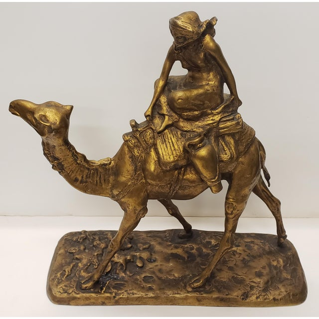 """Up for sale is a Late 19th Century French Gilt Bronze Bedouin Camel Rider Sculpture! It measures 15 5/8"""" tall, 15 5/8""""..."""