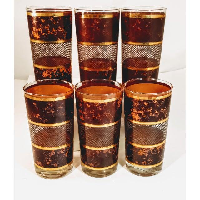 Gold Vintage Georges Briard Tortoiseshell Lattice Design Highball Glasses - Set of 6 For Sale - Image 8 of 8