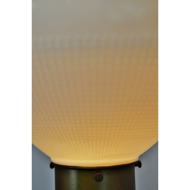 Vintage Mitchell Torchiere Floor Lamp With Milk Glass Corning Diffuser and Slag Glass Base For Sale - Image 5 of 11