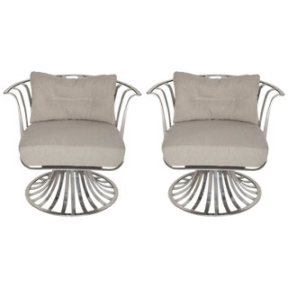 Polished Aluminum Armchairs by Russell Woodard, Circa 1965 - A Pair For Sale