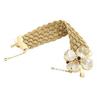 Goossens Paris Woven Gold, Rock Crystal, and Garnet Clover Bracelet For Sale