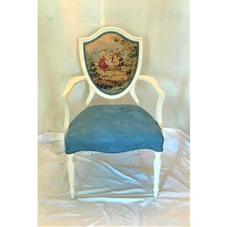 1940s Vintage Louis XVI Shield Back Velvet & Toile Fauteuil Preview
