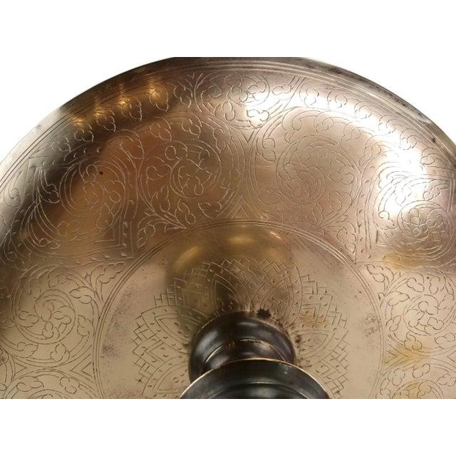Vintage Middle Eastern Brass Floor Candle Holder For Sale - Image 9 of 11