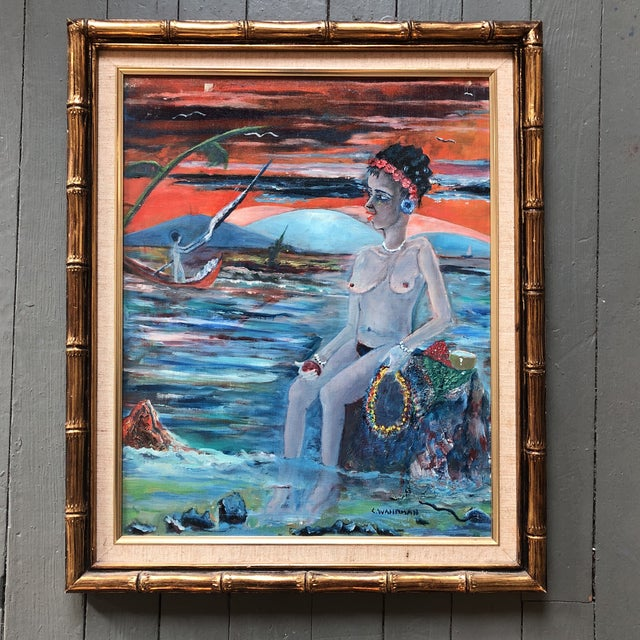 1970s Original Vintage Female Nude in Seascape Painting Signed For Sale - Image 5 of 5