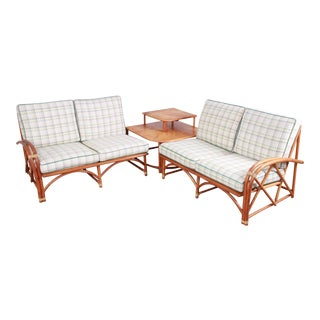 Heywood Wakefield Hollywood Regency Mid-Century Modern Rattan Sectional Sofa and End Table Set For Sale