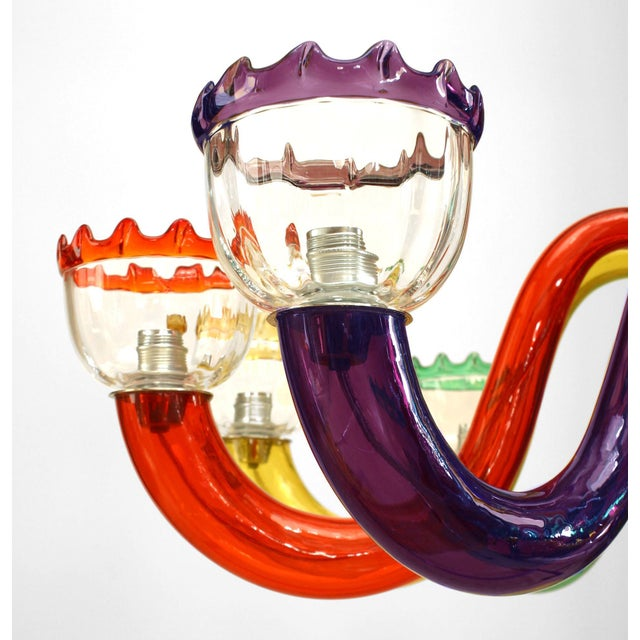Mid-Century Modern Italian 1950s Multicolored Murano Glass Chandelier For Sale - Image 3 of 5