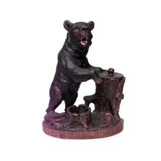 19th C. Black Forest Carved Bear Humidor For Sale