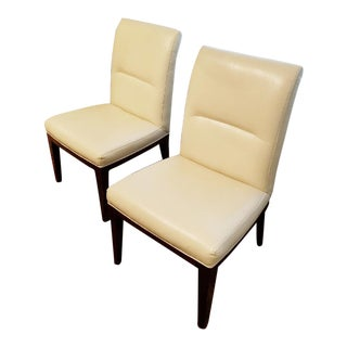 Transitional Bill Sofield for Baker Leather Dining Chairs - A Pair For Sale