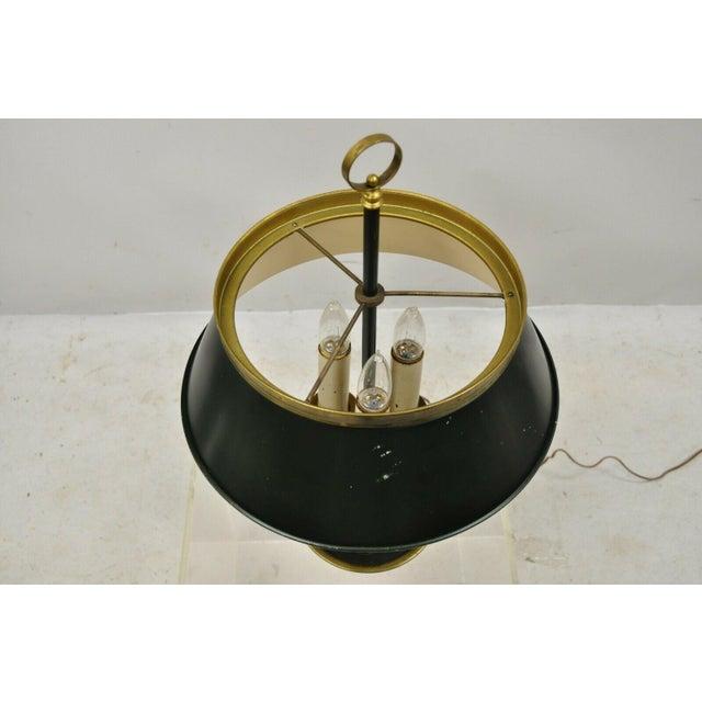 Vintage Green Tole French Empire Brass 3 Light Desk Bouillotte Table Lamp For Sale In Philadelphia - Image 6 of 11