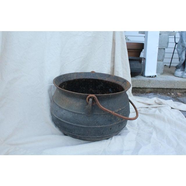 Rustic Vintage Cast Iron Cauldron For Sale - Image 3 of 6