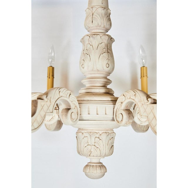 French Bleached Oak Chandelier For Sale - Image 4 of 8