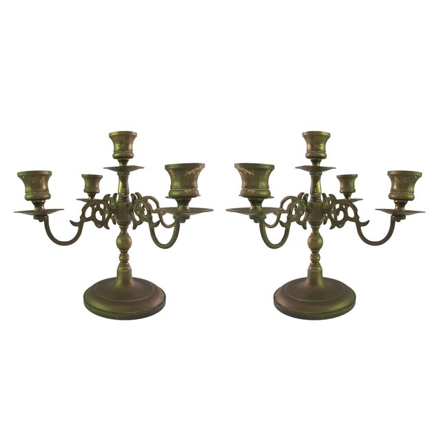 Vintage Solid Brass 5 Light Candelabras - A Pair - Image 1 of 5