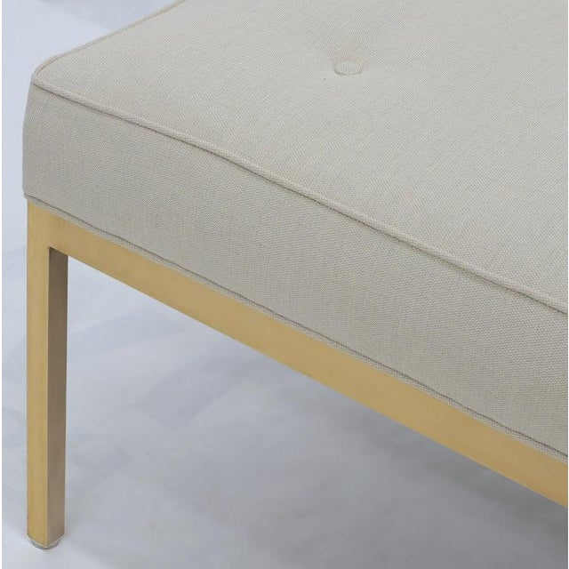Mid-Century Modern Extra Long Solid Brass Base Frame Spring Loaded New Upholstery Bench Daybed For Sale - Image 3 of 13