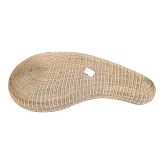 Natural Wicker Oval Ottoman For Sale