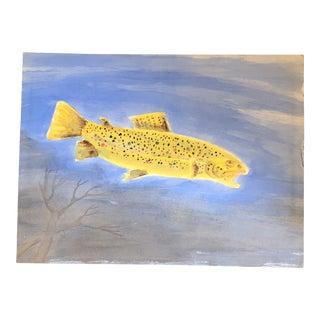 Original Vintage Fish Watercolor 18 X 24 1980's For Sale