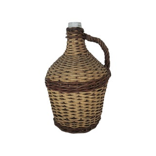 Antique Large Wicker Wrapped Clear Glass Bottle Demijohn For Sale